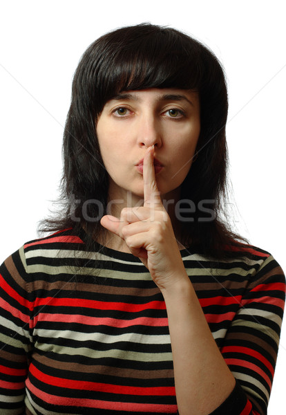 Güzel bir kadın sessizlik imzalamak yalıtılmış beyaz portre Stok fotoğraf © pekour