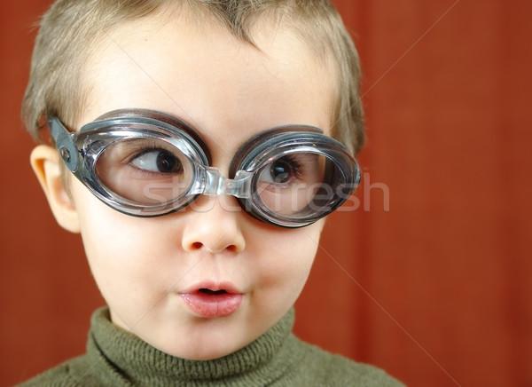 Stok fotoğraf: Küçük · erkek · yüzme · gözlük · pilot