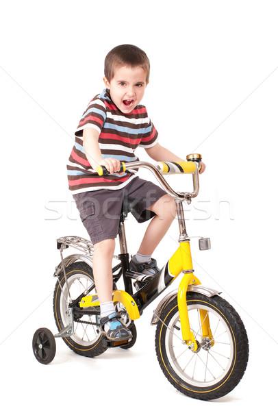 çığlık atan küçük erkek bisiklet yalıtılmış beyaz Stok fotoğraf © pekour