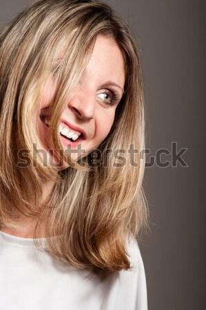 Mulher loira rir cabelo cara Foto stock © pekour