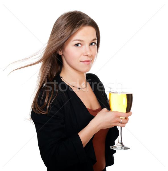 Kadın cam elma şarabı el yalıtılmış beyaz Stok fotoğraf © pekour