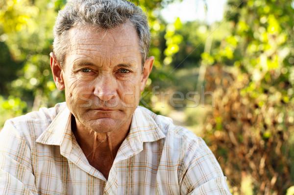 Dalgın yaşlı adam açık havada yaz bahçe yüz Stok fotoğraf © pekour