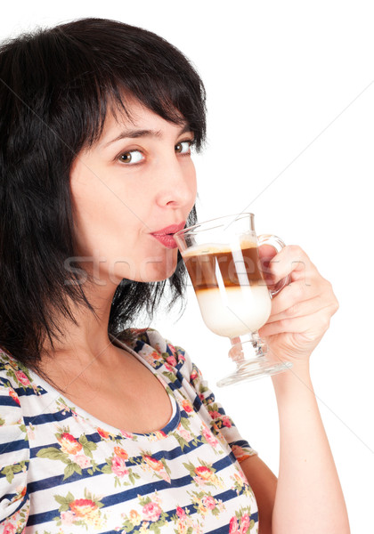 Güzel esmer kadın içecekler yalıtılmış Stok fotoğraf © pekour