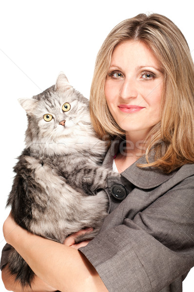 женщину кошки серый изолированный белый улыбка Сток-фото © pekour