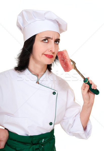 Chef woman smell stale meat chunk Stock photo © pekour