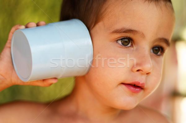 Fiú játék kommunikáció berendezés arc portré Stock fotó © pekour