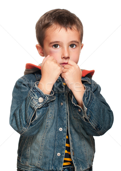 Portrait of little boy with bruise in fighting stance Stock photo © pekour