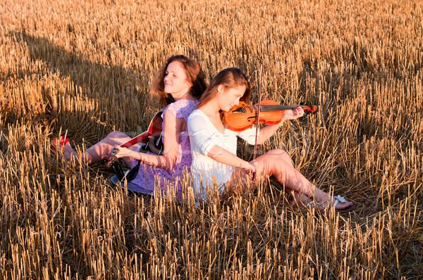 Iki oynama gitar keman açık havada Stok fotoğraf © pekour