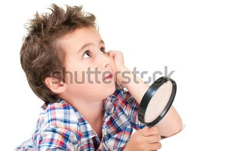 Rüya gibi küçük erkek tuhaf saç büyüteç Stok fotoğraf © pekour