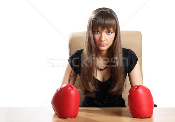 Ofis kadın boks eldivenleri yalıtılmış beyaz iş Stok fotoğraf © pekour
