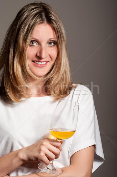 Mulher vinho branco sorrir vidro Foto stock © pekour