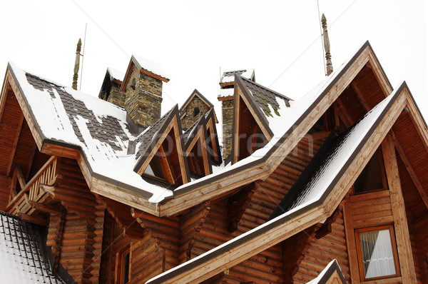 Roof of the wooden cottage covered with snow Stock photo © pekour