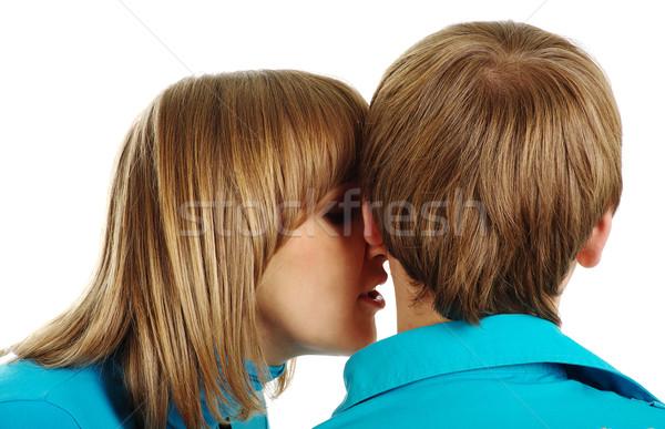 Nő fül férfi izolált fehér család Stock fotó © pekour