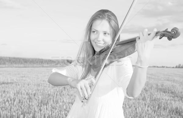 Stok fotoğraf: Genç · kadın · oynama · keman · açık · havada · alan · yaz
