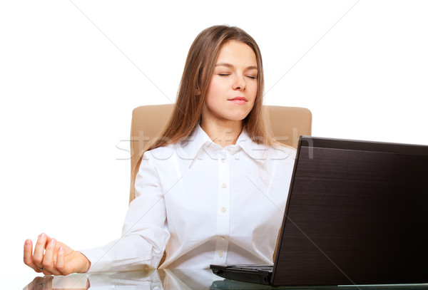 Woman meditation in the office workplace Stock photo © pekour