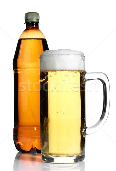 Bira plastik şişe cam yalıtılmış beyaz Stok fotoğraf © pekour