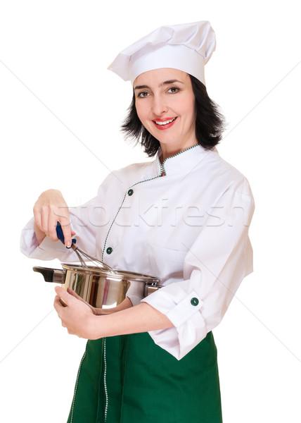 Bella donna chef utensile da cucina isolato bianco donna Foto d'archivio © pekour