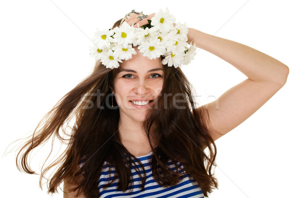 Girl in chamomile wreath and sailor singlet Stock photo © pekour