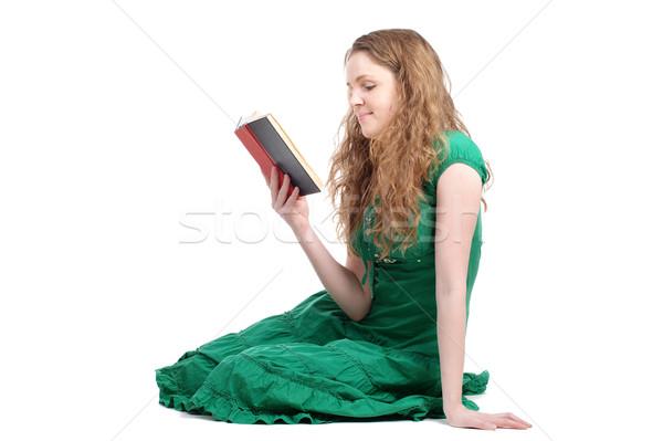 Kadın yeşil elbise okuma kitap Stok fotoğraf © pekour