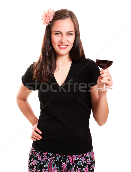 Güzel kız çiçek saç cam şarap Stok fotoğraf © pekour
