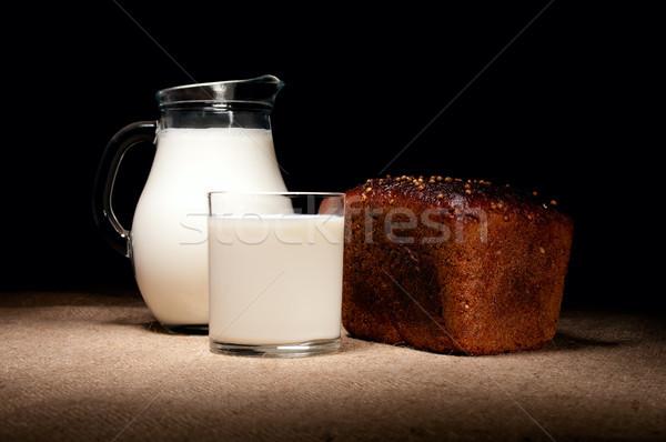 Jarra leche pan vidrio bajo clave Foto stock © pekour