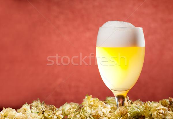 Gözlük bira atlama kırmızı cam içmek Stok fotoğraf © pekour