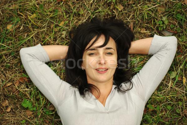 Kadın çim yeşil ot çiçekler gözler doğa Stok fotoğraf © pekour