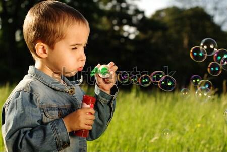 Küçük erkek kabarcıklar sabun köpüğü çayır mutlu Stok fotoğraf © pekour