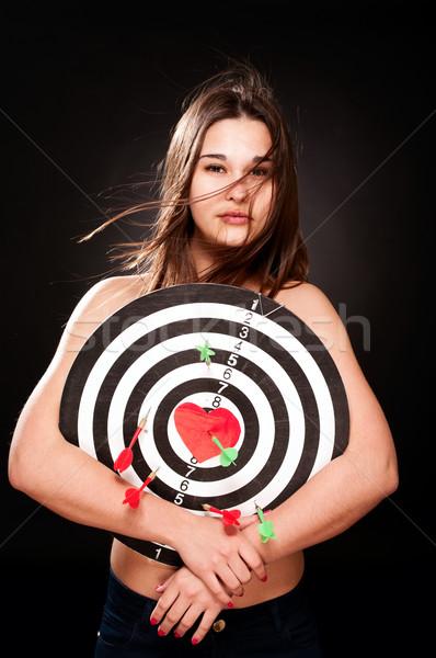 Genç kadın kalp pens sevmek portre kadın Stok fotoğraf © pekour