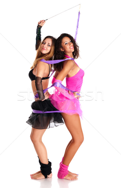 Two interracial girls ballet dancers Stock photo © pekour