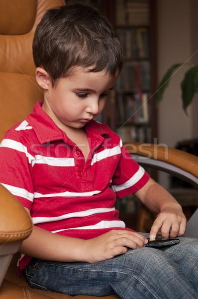 Stok fotoğraf: Küçük · erkek · oynamak · oyun · deri