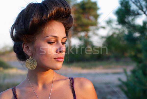 Zarif bayan açık havada genç yaz akşam Stok fotoğraf © pekour