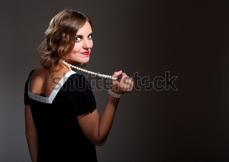 Coquette retro woman in pearls Stock photo © pekour