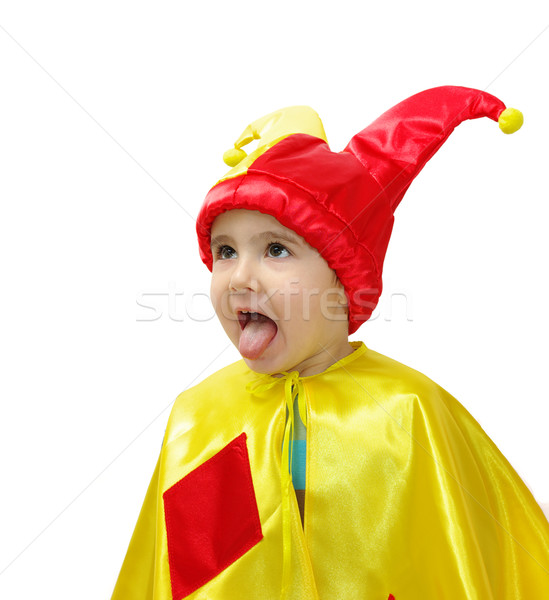 Little boy in harlequin costume teasing tongue Stock photo © pekour