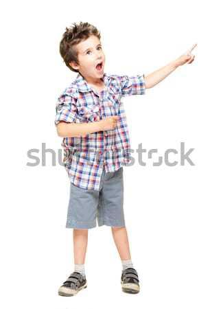 Stock fotó: Kicsi · izgatott · fiú · mutat · valami · izolált