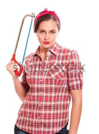 Trabalhador mulher jovem martelo isolado branco mulher Foto stock © pekour