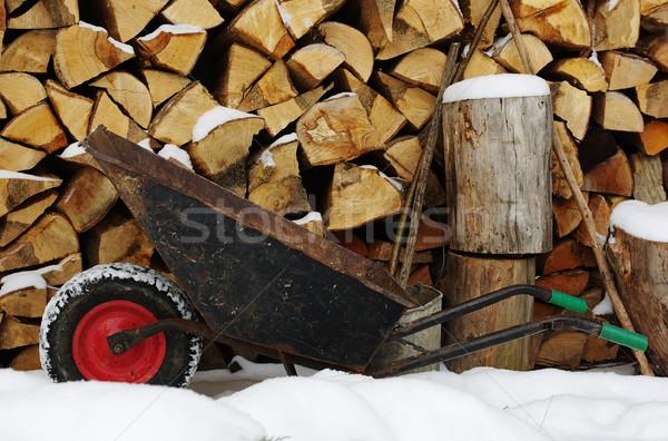 Stock fotó: Talicska · piros · kerék · tűzifa · boglya · öreg
