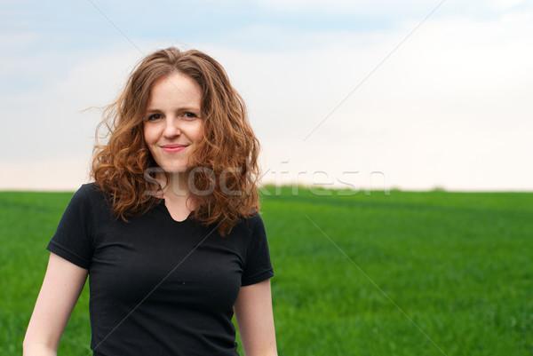 Güzel kadın yeşil alan Stok fotoğraf © pekour