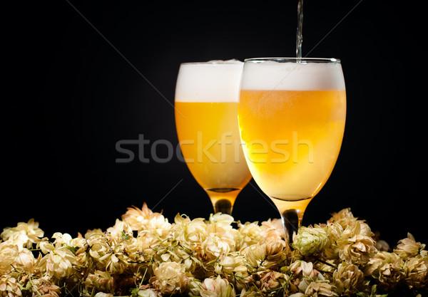 Kettő szemüveg sör áramlás komló fekete Stock fotó © pekour