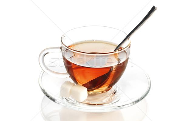 Fekete tea üveg csésze teáskanál kockacukor Stock fotó © pekour