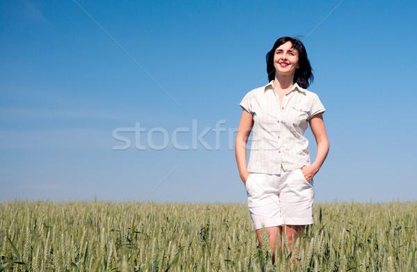 Kadın yürüyüş mutlu güneşli yaz Stok fotoğraf © pekour