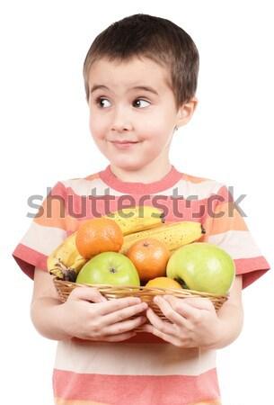 Küçük erkek elma muz yalıtılmış Stok fotoğraf © pekour
