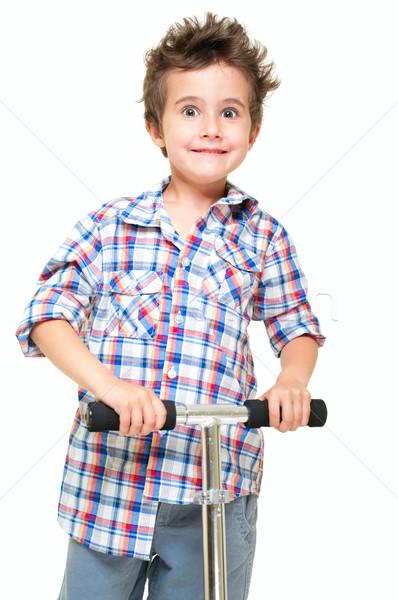 Ondeugend behaard weinig jongen shorts shirt Stockfoto © pekour
