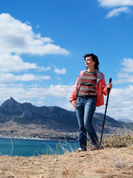 Turista mulher montanhas céu montanha verão Foto stock © pekour