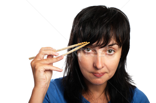 Woman with chopsticks Stock photo © pekour