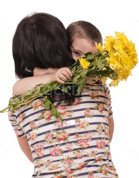 Stok fotoğraf: Anne · oğul · çiçekler · yalıtılmış · beyaz