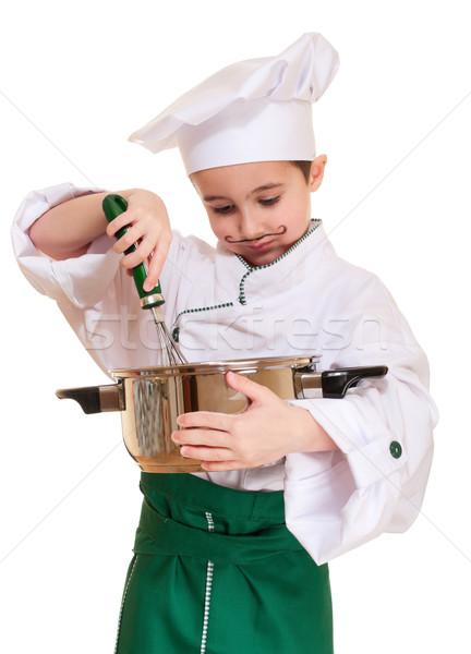 Küçük şef pişirme yalıtılmış beyaz Stok fotoğraf © pekour