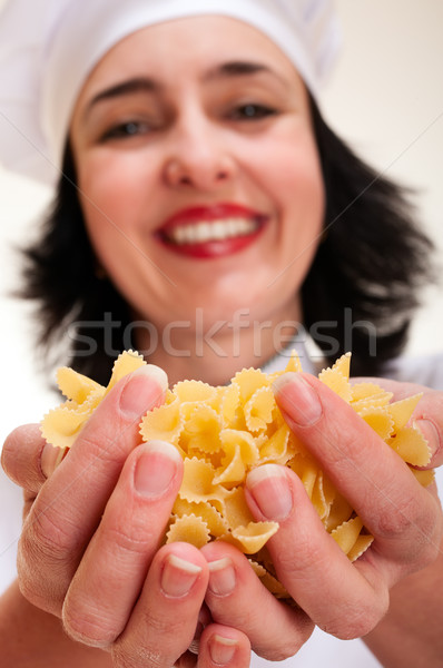 şef kadın makarna mutlu Stok fotoğraf © pekour