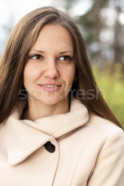 Foto stock: Bela · mulher · sol · verde · prado · mulher · sorrir