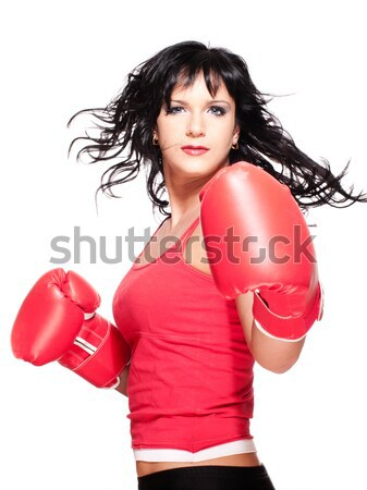 Stock photo: Boxing fighter woman in defence position